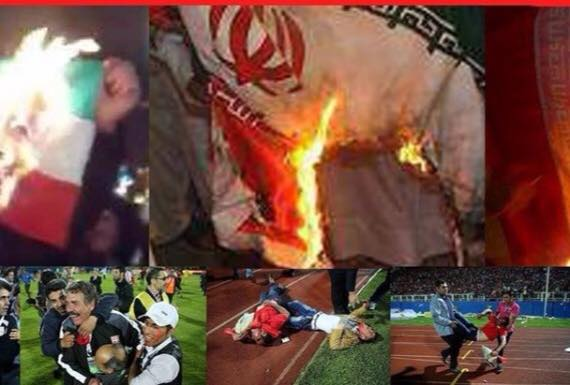 Iranian Azeri Soccer Fans Burn the Iranian Flag